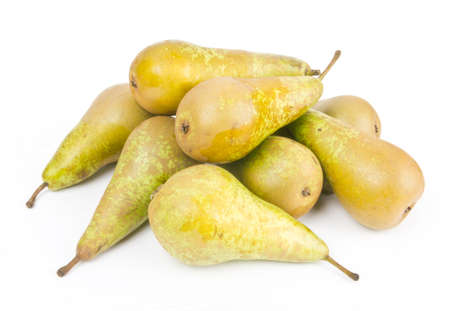 Fresh ripe pears on white photo