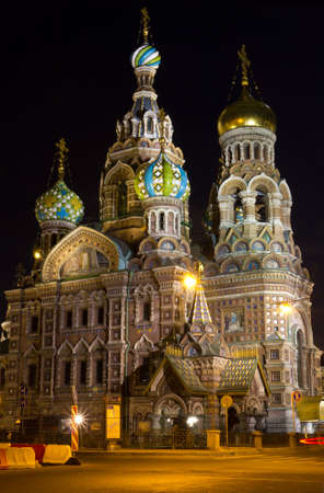 Famous church in Saint-Petersburg Russia at night photo
