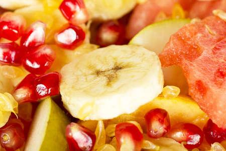 Fresh juicy fruit salad background