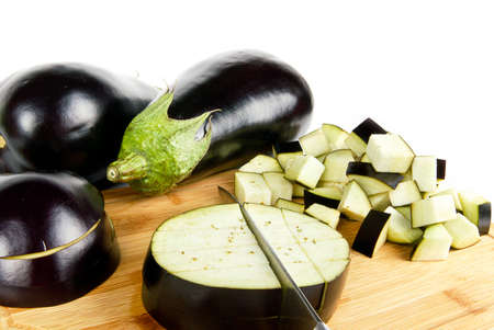 Eggplants with slices and cuts