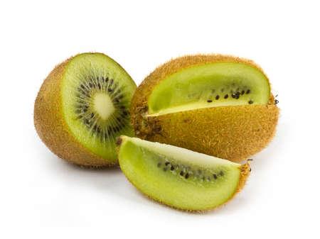 Ripe kiwi fruits with cut on white background Stock Photo