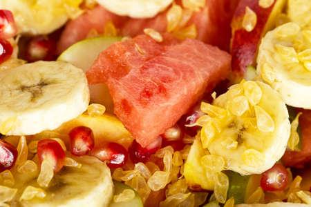 Fresh fruit salad background Stock Photo
