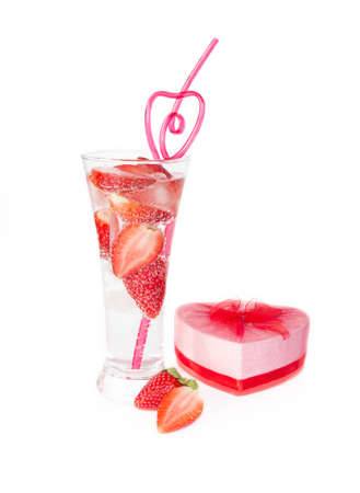 Valentine strawberry club drink with straw and heart gift box