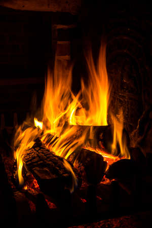 fire in a fireplace photo