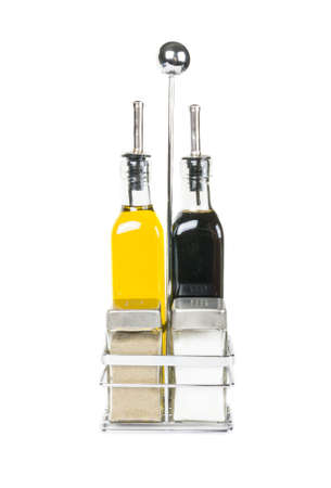 A set of salt pepper olive oil and soya sauce photo