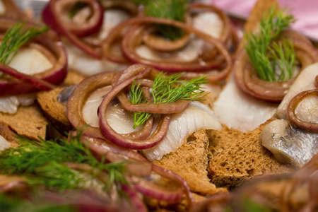 sandwiche: Herring sandwiche Snackes Archivio Fotografico