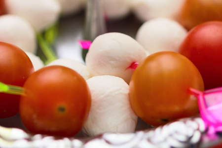 Mozzarella cheese and tomato canape snack Stock Photo - 20209427