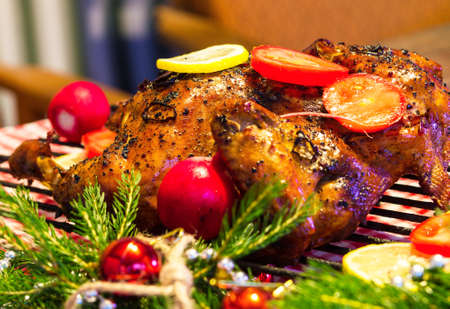 Christmas dinner with smoked chicken photo