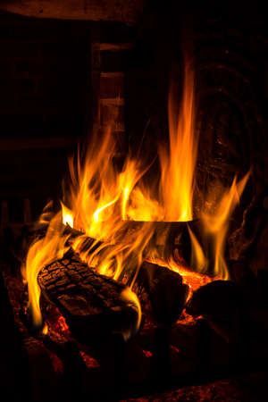 log on: fire in a fireplace Stock Photo