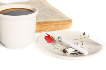 Coffee with book and cigaretts photo