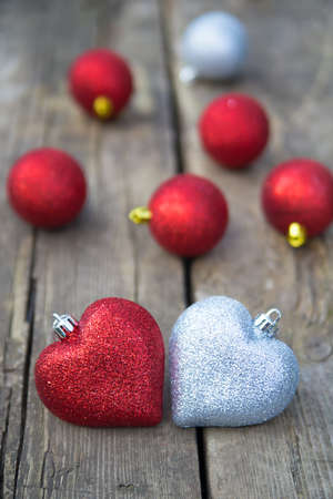 Christmas composition with two hearts photo
