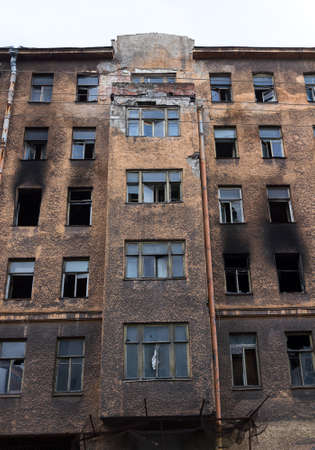 Left burned building Stock Photo