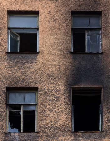 Broken burned building Stockfoto