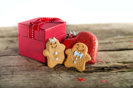 Christmas present and ginger people Stock Photo