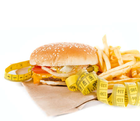 Burger with measure tape photo