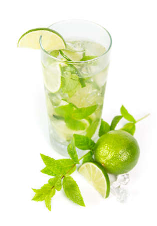 mohito: Mohito mojito drink with lime and mint Stock Photo