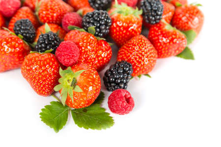 Berries: blackberries, strawberry, raspberry photo