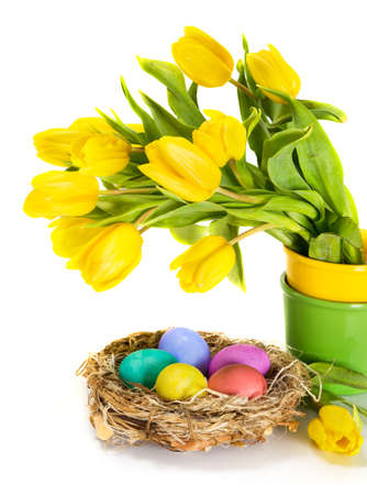 Easter eggs in the nest and tulip flowers photo