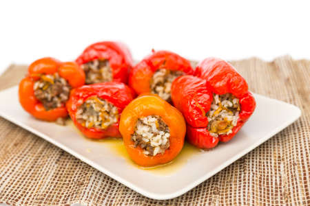 Cooked meat peppers on a plate