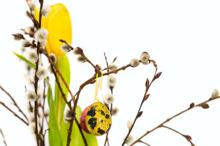 Easter eggs on a branch photo