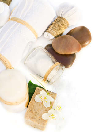 aroma therapy: Spa composition with candle on white background Stock Photo