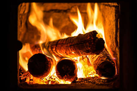 wood fire: fire in a fireplace Stock Photo