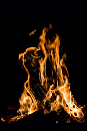 fire in a fireplace Stock Photo
