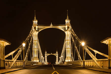 chelsea: Albert\s bridge at night, London