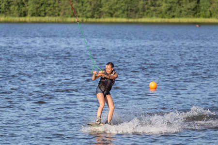 Woman study wakeboarding