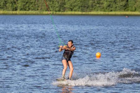 Woman study wakeboarding