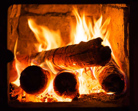 Fire in fireplace photo
