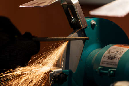 sharpening process: sharpening process in closeup shot