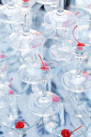 Pyramid champagne martini glasses photo
