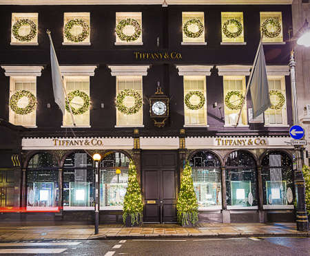 bond street: 13 November 2014 Tiffany shop on New Bond Street, London, decorated for Christmas and New 2015 Year