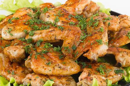 fresh tasty juicy Roasted chicken wings background photo