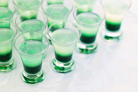 shooter drink: Raw of green mint shot drinks for party