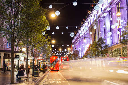 oxford street: 13 November 2014 Oxford Street, London, decorated for Christmas and New 2015 Year