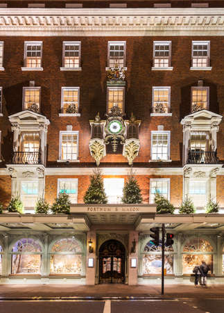 LONDON- NOVEMBER 13, 2014: Fortnum and Mason shops at Picadilly Street, London, decorated for Christmas and New 2015 Year, England, Uk Editorial