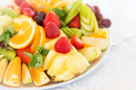 fresh: Fresh fruit party plate on a table