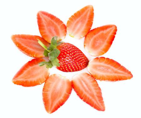 woodenrn: Fresh sweet tasty Strawberries on white background Stock Photo