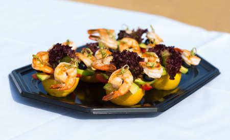 starter: shrimp canape starter
