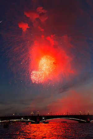 Celebration of the Victory Day in the Second World War in SaintPetersburg Russia on the 9th of May 2015 near Peter39s and Paul Cathedral by colorful fireworks photo