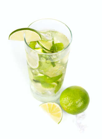 Mohito mojito drink with ice mint and lime