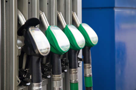 land pollution: Fuel pumps petrol Stock Photo