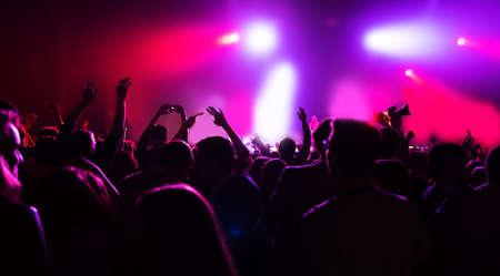menschenmenge: Silhouetten von einer Menschenmenge auf einem Musik-Konzert Lizenzfreie Bilder
