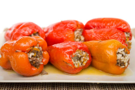 freshly cooked: Freshly cooked peppers on a beige plate