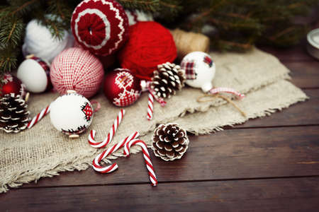 red and gold: Christmas retro composition on wooden background
