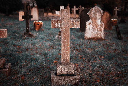 afterlife: Puttenham St John the Baptist church Helloween style in England UK Stock Photo