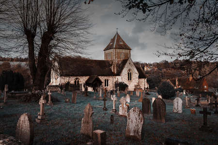 Puttenham St John the Baptist church Helloween style in England UK Фото со стока