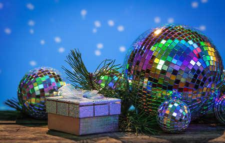 mirrorball: Christmas Mirror balls on wooden background Stock Photo